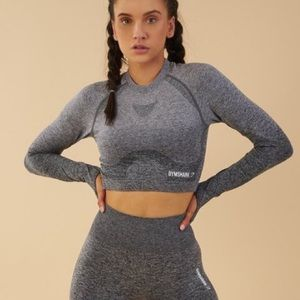 Gymshark Seamless Grey Ombré Long Sleeve Crop
